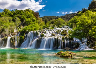 Beautiful Skradinski Buk Waterfall In Krka National Park - Dalmatia Croatia, Europe