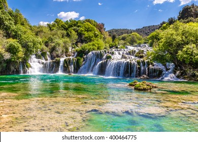 Beautiful Skradinski Buk Waterfall In Krka National Park - Dalmatia Croatia, Europe