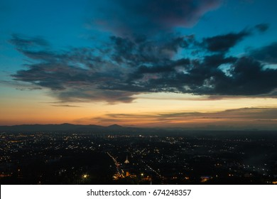 Beautiful sky after sunset on long exposure shot