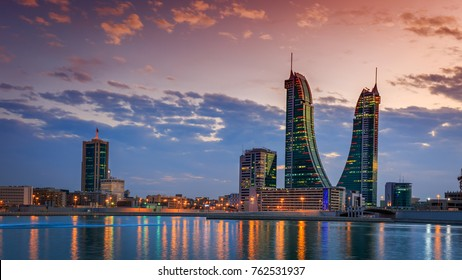 Beautiful sky and Bahrain skyline with reflection after dusk