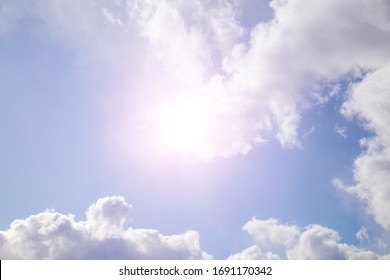 beautiful sky with clouds and bright sun