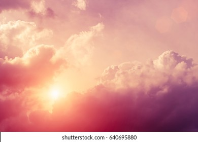Beautiful sky with clouds and sun