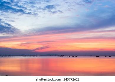 beautiful sky colorful sunset on the sea