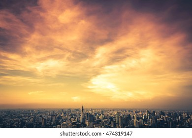 Beautiful sky colors of city scape  in bangkok