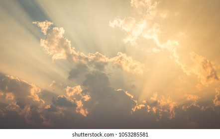 Beautiful sky evening Golden cloud Suset