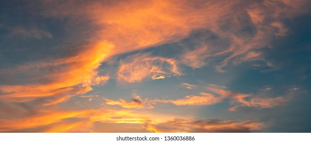 Beautiful sky evening Golden cloud Suset - Image