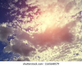 Beautiful sky with fluffy clouds