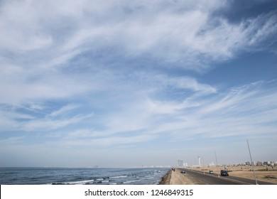 beautiful sky in karachi beach, karachi sea view