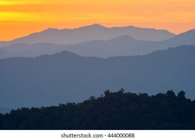 beautiful sky and layers of the mountain after sunset.