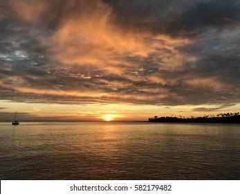 Beautiful sky on the sea and island