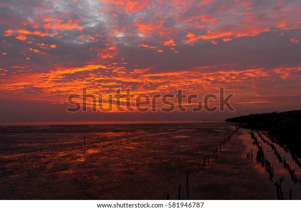 Beautiful sky on sunset before night.