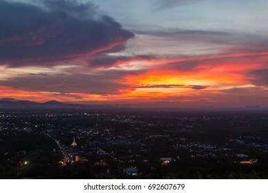 Beautiful sky over city at sunset