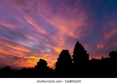 beautiful sky over Phnom Bakheng Castleduring sunset, Angkor Wat, Cambodia