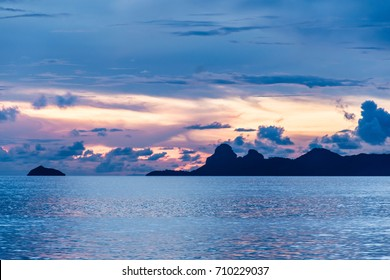Beautiful sky over the sea after sunset during travel to Koh Samui