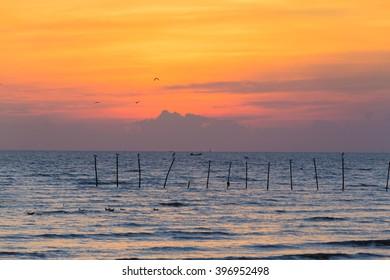 Beautiful sky over sea coast after sunset