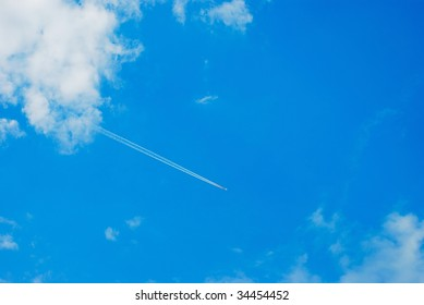 Beautiful sky with plane path on