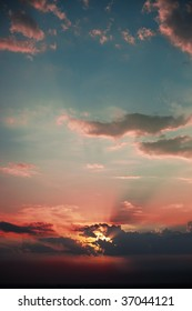 Beautiful sky with red and blue sunset colors