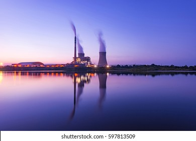 The beautiful sky, the reflection of the water. thermal power plant