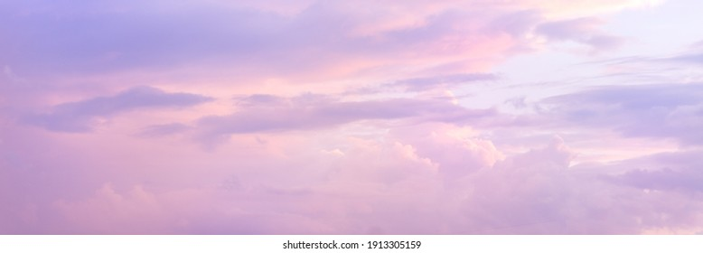 Beautiful sky with soft sunlight in pink and purple. Panorama of the beautiful sky..