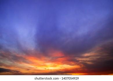 beautiful sky at sunset , evening, clouds