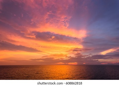 Beautiful sky with sunset. Sunset in twilight time over the sea.