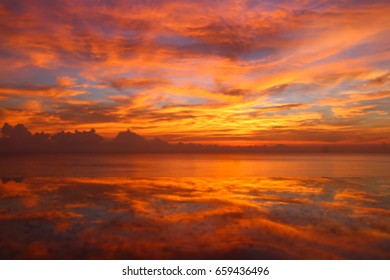 Beautiful sky twilight times and reflections on the sea