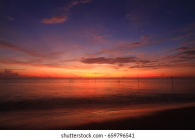 Beautiful sky at  twilight times and reflections on the sea