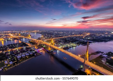Beautiful sky view of Bhumibol Bridge in Bangkok city, Thailand.