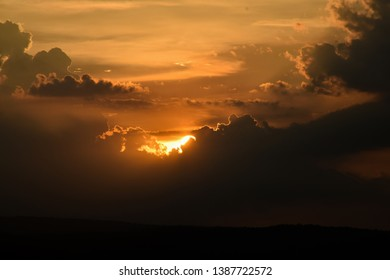 Beautiful sky view and sundown in evening time or twilight. Light of sundown in twilight