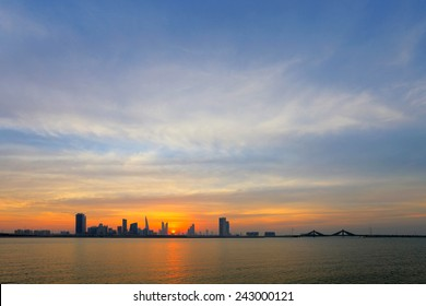 Beautiful skyline of Bahrain during dusk, HDR