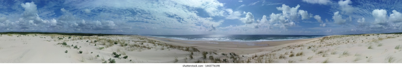 Beautiful skyline of Biscarrosse. Atlantic ocean. Amazing beach of Biscarrosse. Holidays and turism in Biscarrosse. Landes. Aquitaine. France. Europe. Foto for bookmark.