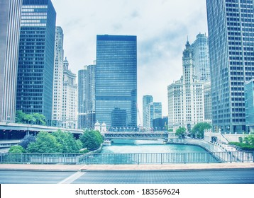 Beautiful skyline of Chicago with river and skyscrapers. Vintage effect