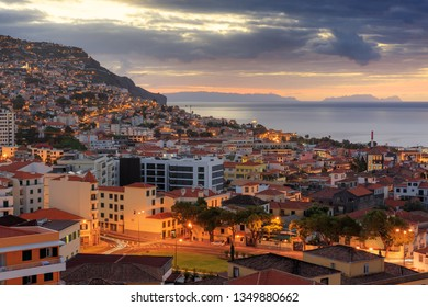Beautiful skyline cityscape of the city Funchal on the island Madeira at sunrise in summer