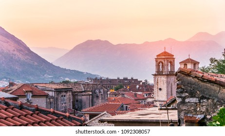 Beautiful skyline of historic district of Kotor, popular Montenegro destination