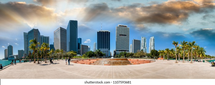 Beautiful skyline of Miami. City buildings and skyscrapers.