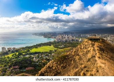 Beautiful Skyline of Oahu from Diamond Head