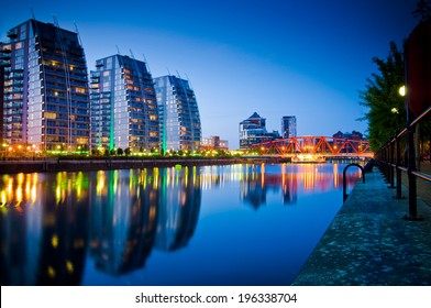 Beautiful skyline of Salford Quays Manchester