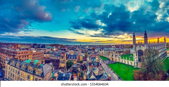 Beautiful skyline sunset of Cambridge city in UK