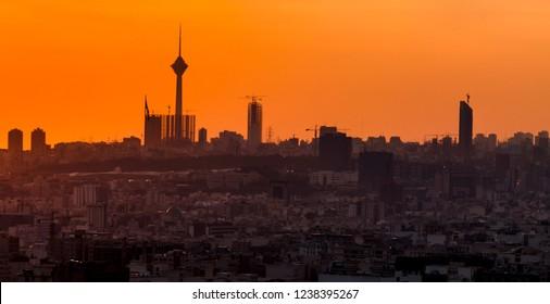 Beautiful skyline of Tehran-Iran,Tehran cityscape at the sunset.