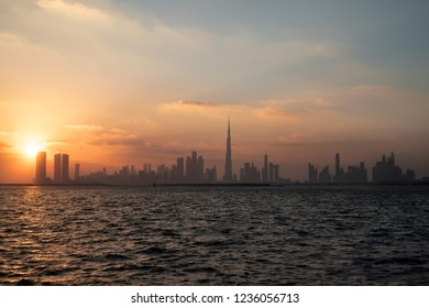 Beautiful skyline view of Dubai creek