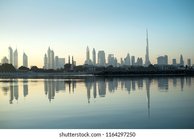Beautiful skyline view of Dubai with reflection in the water