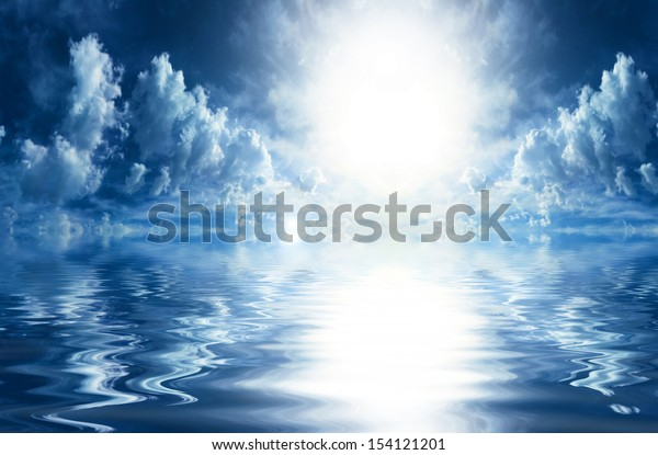 Beautiful skyscape with water reflections