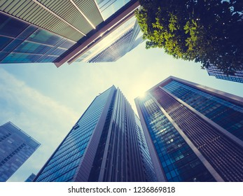 Beautiful skyscraper with architecture and glass window exterior of building around business area in the city