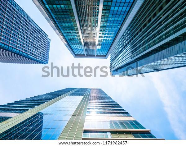 Beautiful Skyscraper Architecture Glass Window Exterior Stock ...