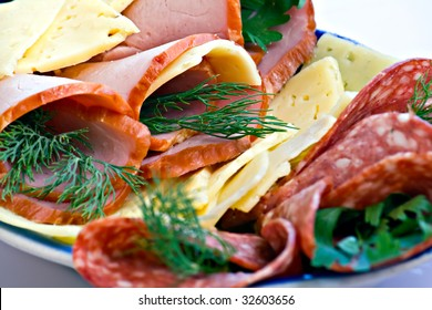 Beautiful sliced food arrangement in  plate
