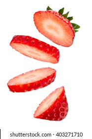 Beautiful Sliced Fresh Strawberry Floating on White Background in Full Depth of Field with Clipping Path.