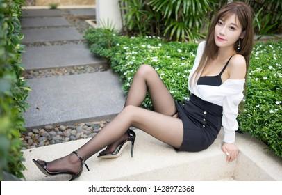 Beautiful slim body of asian woman,japanese style