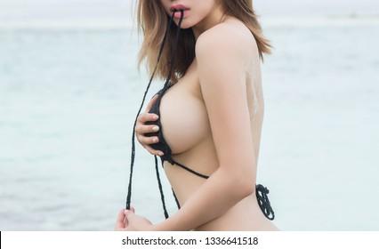 Beautiful slim body of young woman