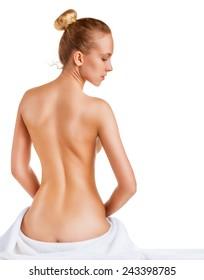 Beautiful slim female body isolated on white background. Back view