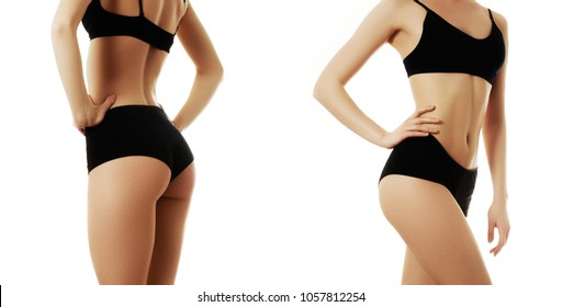 Beautiful slim female body. Voluptuous woman's shape with clean healthy skin, flat stomach. Spa beauty part of body. Perfect female body isolated on white background. Set